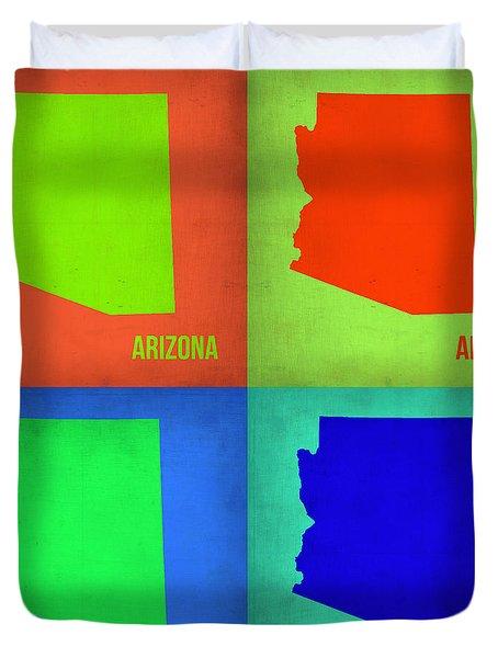 Arizona Pop Art Map 1 Duvet Cover