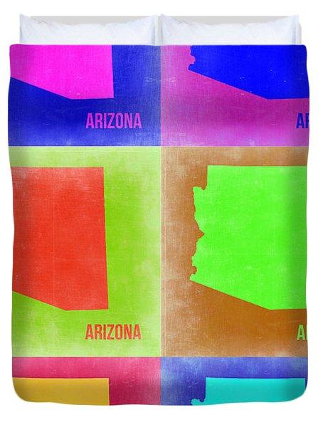 Arizona Pop Art Map 2 Duvet Cover