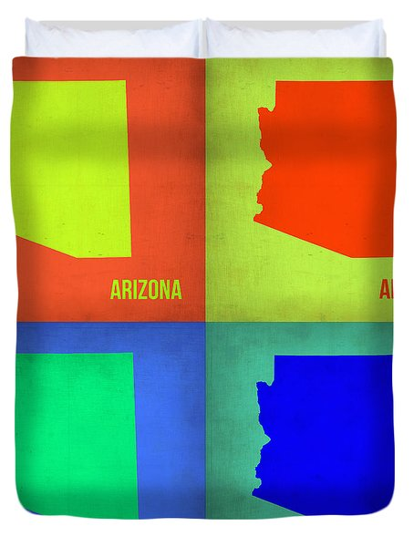 Arizona Pop Art Map 3 Duvet Cover
