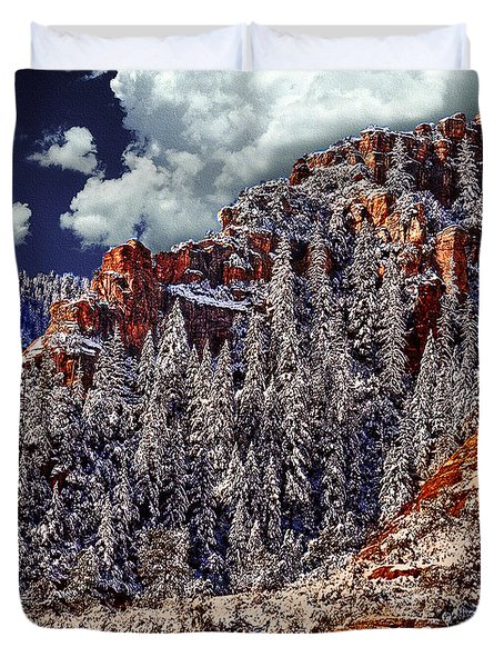 Arizona Secret Mountain Wilderness In Winter Duvet Cover