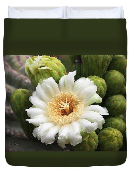 Arizona State Flower The Saguaro Blossom Duvet Cover