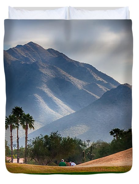 Arizona Sunrise Golfing Duvet Cover by Fred Larson