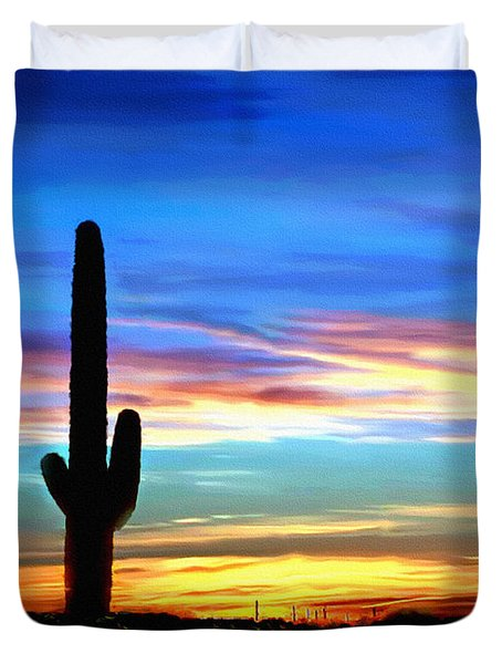 Arizona Sunset Saguaro National Park Duvet Cover