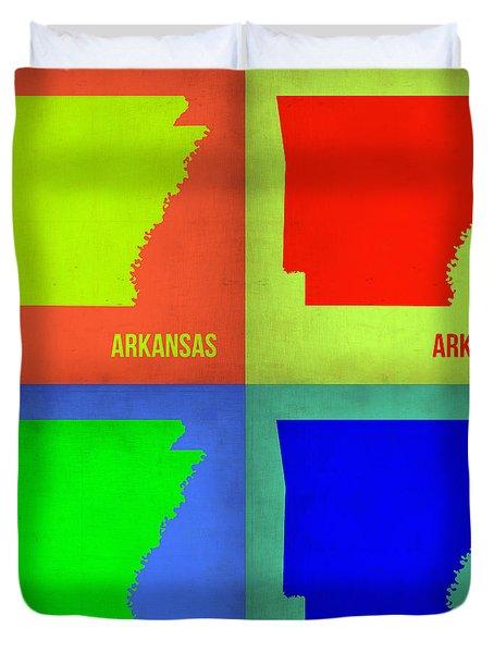 Arkansas Pop Art Map 1 Duvet Cover by Naxart Studio