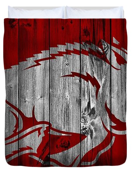 Arkansas Razorbacks Barn Door Duvet Cover by Dan Sproul