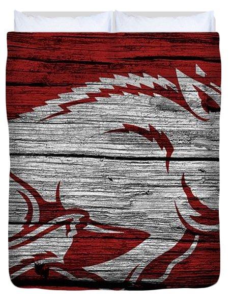 Arkansas Razorbacks On Wood Duvet Cover