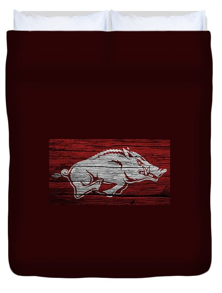 Arkansas Razorbacks On Wood Duvet Cover by Dan Sproul