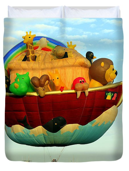 Arky Hot Air Balloon Duvet Cover by Kathy  White