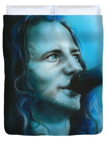 Eddie Vedder - ' Arms Raised In A V ' Duvet Cover by Christian Chapman Art