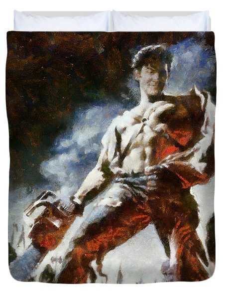 Duvet Cover featuring the painting Army Of Darkness by Joe Misrasi
