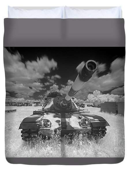 Duvet Cover featuring the photograph Army Tank Infrared by Martin Konopacki