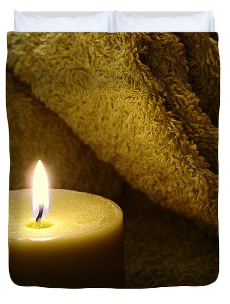 Aromatherapy Candle And Towel Duvet Cover