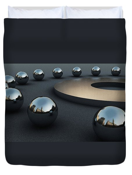 Duvet Cover featuring the digital art Around Circles by Richard Rizzo