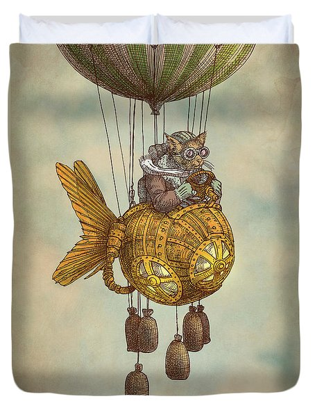 Around The World In The Goldfish Flyer Duvet Cover