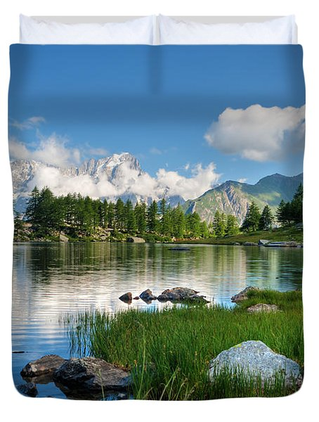 Duvet Cover featuring the photograph Arpy Lake - Aosta Valley by Antonio Scarpi