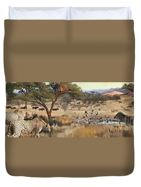 Duvet Cover featuring the painting Arrival by Rob Corsetti
