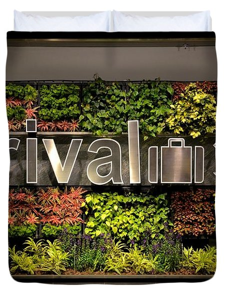 Arrival Sign Arrow And Flowers At Singapore Changi Airport Duvet Cover