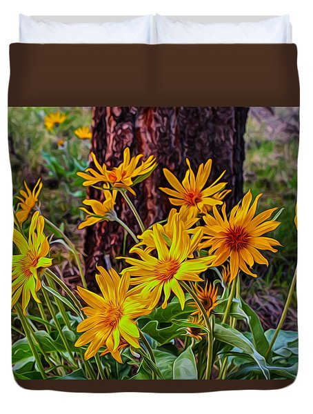 Duvet Cover featuring the painting Arrowleaf Balsamroot by Omaste Witkowski