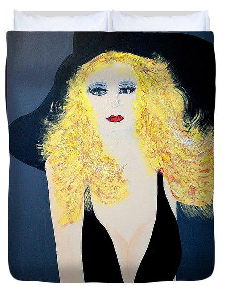 Art Deco Girl With Black Hat Duvet Cover