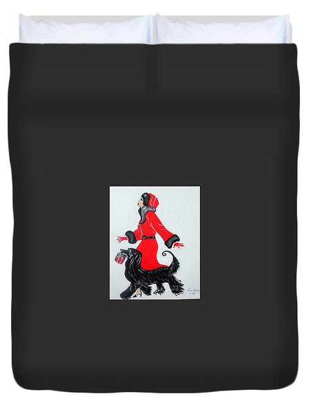 Art Deco  Girl With Red  Coat Duvet Cover