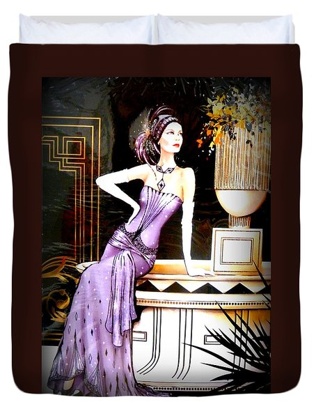 Art Deco Lady In Purple Duvet Cover by The Creative Minds Art and Photography