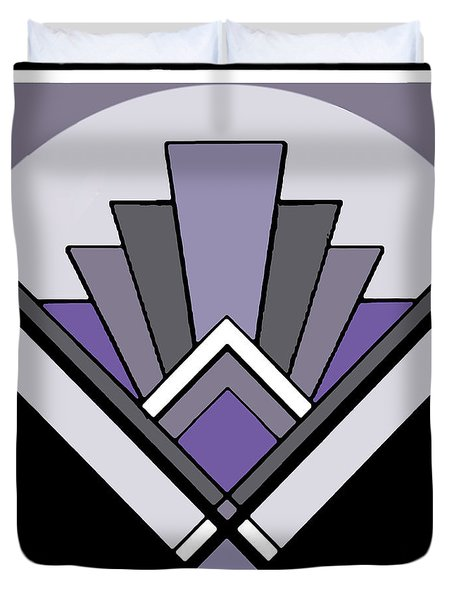 Art Deco Pattern Two - Purple Duvet Cover by Chuck Staley