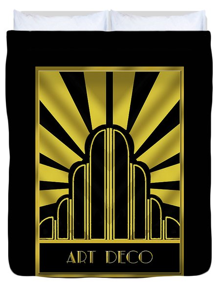 Art Deco Poster - Title Duvet Cover by Chuck Staley