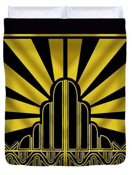 Art Deco Poster - Two Duvet Cover by Chuck Staley