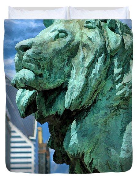 Art Institute In Chicago Lion Duvet Cover
