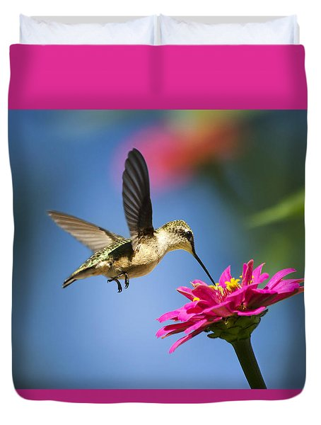Duvet Cover featuring the photograph Art Of Hummingbird Flight by Christina Rollo