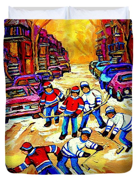 Art Of Montreal Hockey Street Scene After School Winter Game Painting By Carole Spandau Duvet Cover by Carole Spandau