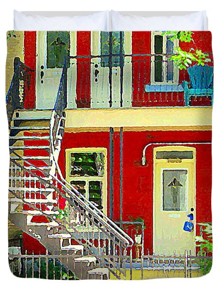 Art Of Montreal Upstairs Porch With Summer Chair Red Triplex In Verdun City Scene C Spandau Duvet Cover by Carole Spandau