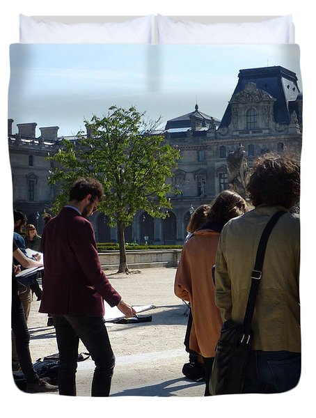Art Students In The Tuileries Of Paris Duvet Cover