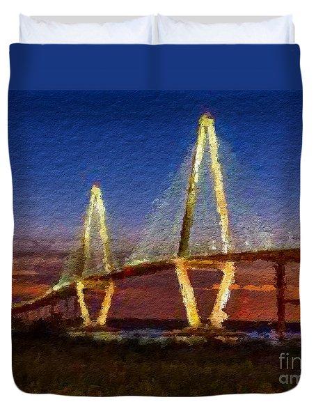Arthur Ravenel Bridge At Evening  Duvet Cover