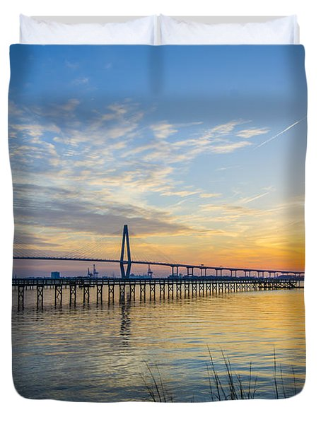 Calm Waters Over Charleston Sc Duvet Cover by Dale Powell