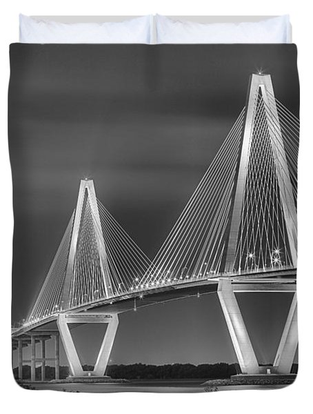 Arthur Ravenel Jr. Bridge In Black And White Duvet Cover by Adam Jewell