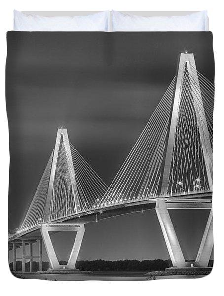 Arthur Ravenel Jr. Bridge In Black And White Duvet Cover