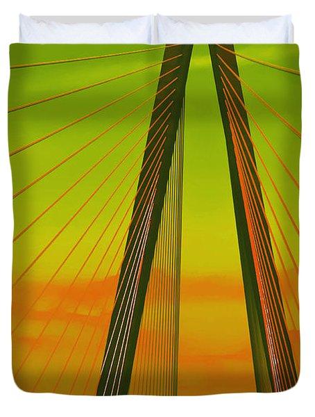 Arthur Ravenel Jr Bridge V Duvet Cover by DigiArt Diaries by Vicky B Fuller