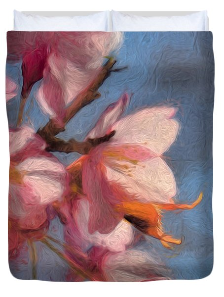 Artisic Painterly Cherry Blossoms Spring 2014 Duvet Cover by Leif Sohlman