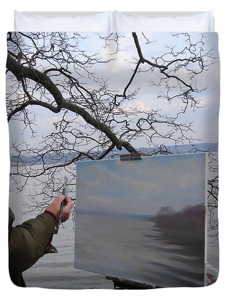 Artist At Work Nyack Park Ny Duvet Cover