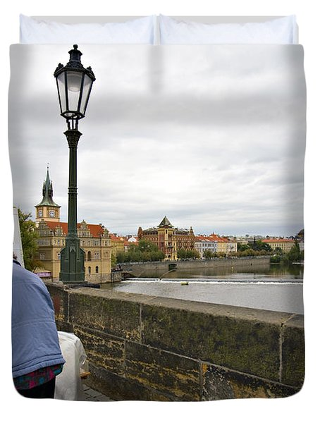 Artist On The Charles Bridge - Prague Duvet Cover by Madeline Ellis