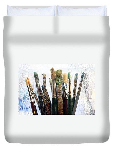 Artist Paintbrushes Duvet Cover by Garry Gay