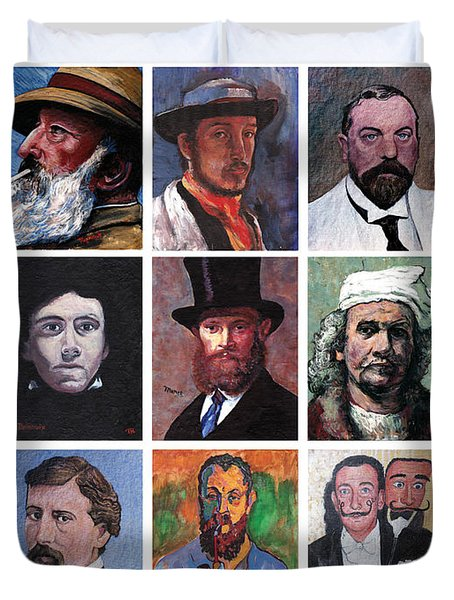 Artist Portraits Mosaic Duvet Cover by Tom Roderick