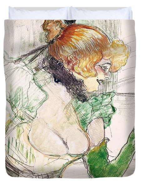 Artist With Green Gloves - Singer Dolly From Star At Le Havre Duvet Cover by Henri de Toulouse Lautrec