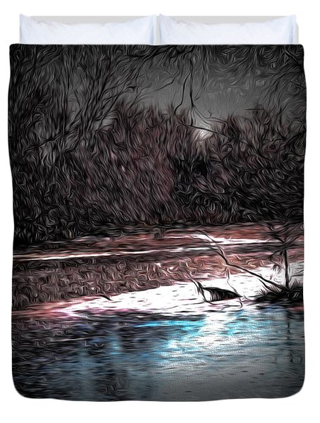 Duvet Cover featuring the photograph Artistic 2 November 26 2013 - The First Ice For The Seasong by Leif Sohlman