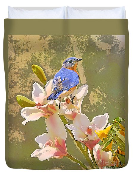Bluebird On Orchids Artistic Photo Duvet Cover