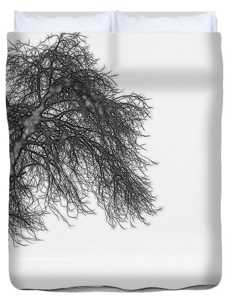 Artistic Black And White Sunset Tree Duvet Cover
