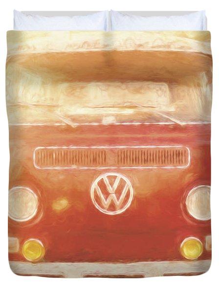 Artistic Digital Drawing Of A Vw Combie Campervan Duvet Cover