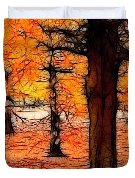 Artistic Fall Trees Duvet Cover