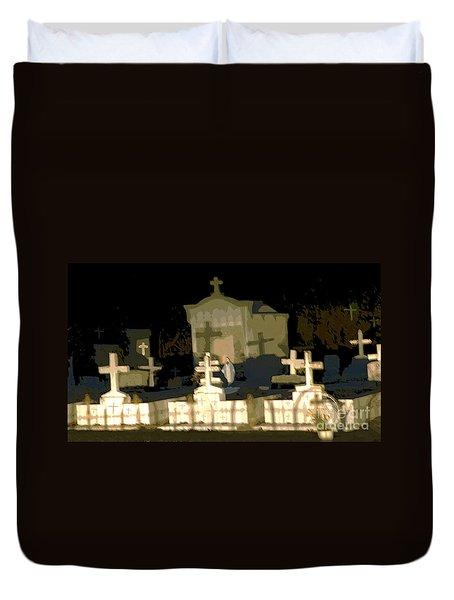 Duvet Cover featuring the photograph Louisiana Midnight Cemetery Lacombe by Luana K Perez